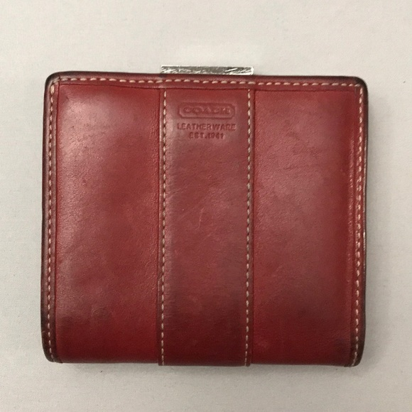 Vintage COACH Red Leather Bi-Fold Wallet